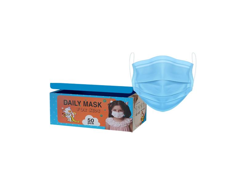ماسک سه لایه پزشکی استاندارد مخصوص کودک آبی (هر بسته 50 عدد)